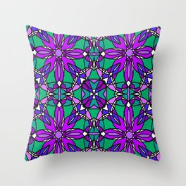 Purple and Green Stained Glass Throw Pillow