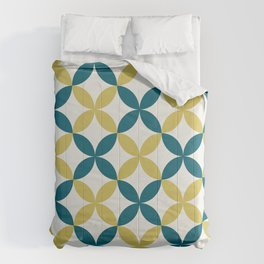 Off White, Dark Yellow and Tropical Dark Teal Inspired by Sherwin Williams 2020 Trending Color Oceanside SW6496 4 Leaf Minimal Flower Petal Pattern 3 Comforters