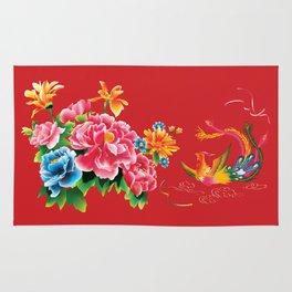 chinese peonies and phoenix Rug