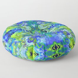 Lime and Blue Marble Floor Pillow