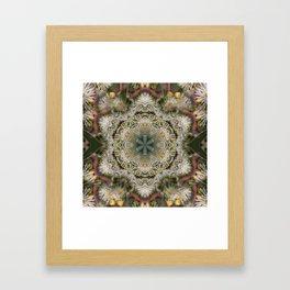 Beautiful white gum blossom mandala Framed Art Print