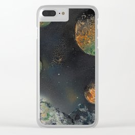 Orange and Green Planets Spacescape - Spray Paint Art Clear iPhone Case