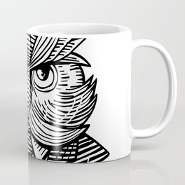 Hip Wise Owl Suit Woodcut Coffee Mug