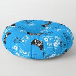 Video Game in Blue Floor Pillow