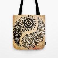 yin yang Tote Bags featuring Yin Yang by Jenndalyn