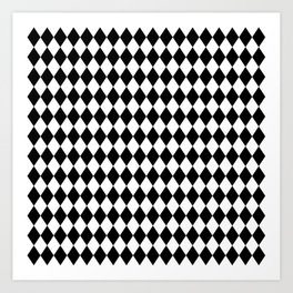 Classic Black and White Harlequin Diamond Check Art Print
