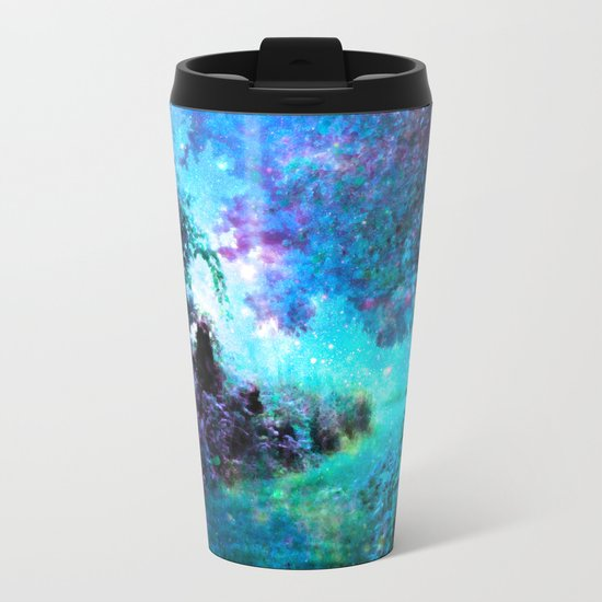 Fantasy Garden Path Turquoise Purple Metal Travel Mug