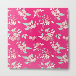 Flower pattern pink Metal Print