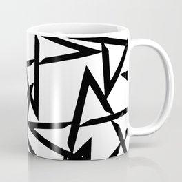 Interlocking Black Star Polygon Shape Design Coffee Mug