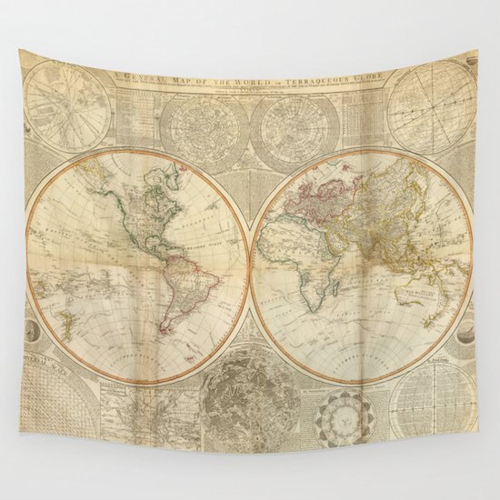 Vintage Map Of The World 1799 2 Wall Tapestry By