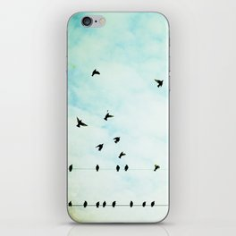 Birds Flying in Sky, Birds on Wires, Aqua Sky Nursery Art iPhone Skin