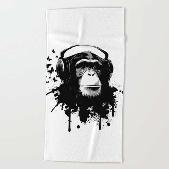 Monkey Business - White Beach Towel