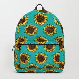 Aqua Sunflowers Backpack