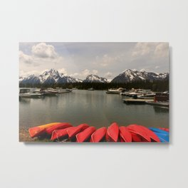 Canoe Meeting At Jackson Lake Metal Print