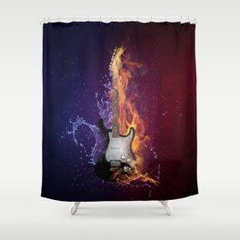 Cool Music Guitar Fire Water Artistic Shower Curtain