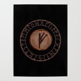 Fehu Elder Futhark rune Possessions, earned income, luck. Abundance, financial strength, hope Poster