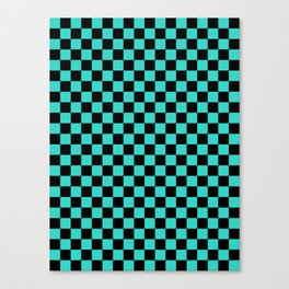 Black and Turquoise Checkerboard Canvas Print
