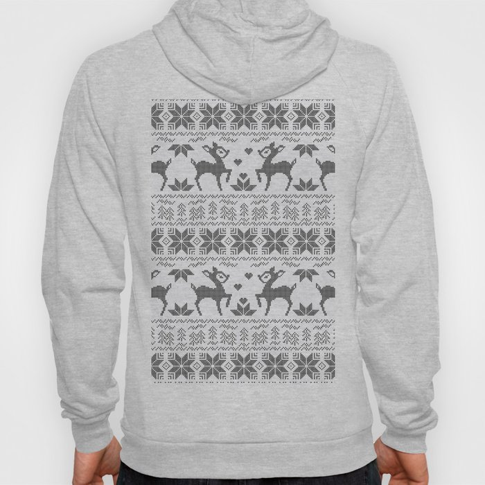 Christmas black and white, the embroidered pattern. Hoody