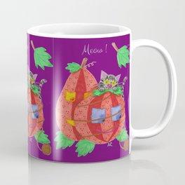 Cat behind pumpkins on a purple background . Coffee Mug