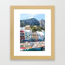 Boats in Capri, Italy Framed Art Print