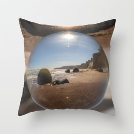 Beach Ball refraction photography with crystal ball Throw Pillow