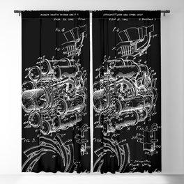 Jet Engine: Frank Whittle Turbojet Engine Patent - White on Black Blackout Curtain