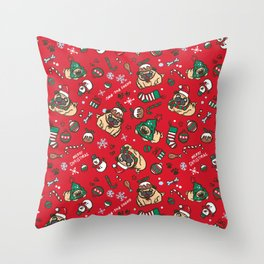 Christmas pattern with pugs Throw Pillow