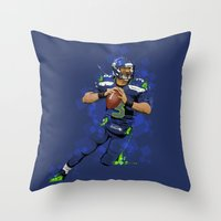 seahawks Throw Pillows featuring Russell Wilson QB 3 Seattle Seahawks by Akyanyme