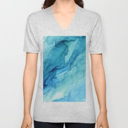 Emerald Sea Waves - Abstract Ombre Flowing Ink Unisex V-Neck