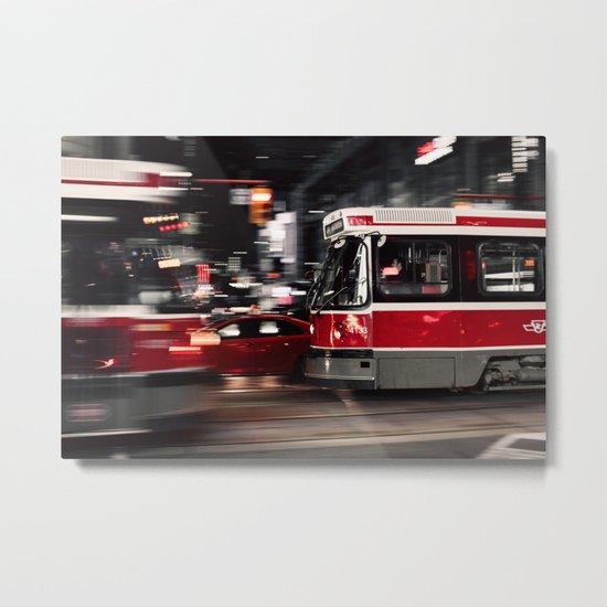 Red buses street Metal Print