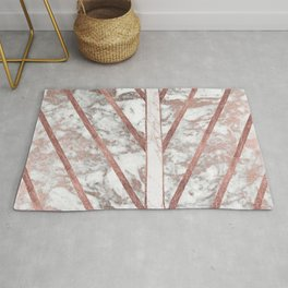 Modern faux rose gold white geometrical marble stripes Rug