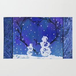The Heart of Snowmen on a Winter Snowfall Day by annmariescreations Rug