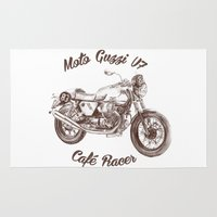 moto Area & Throw Rugs featuring vintage moto guzzi - cafe racer by dareba
