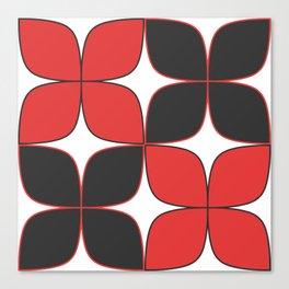 Mid-Century Modern Art - Flower Pattern Black Red Canvas Print