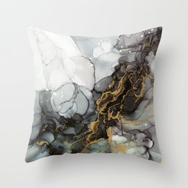 Black Gold Marble Storm Throw Pillow