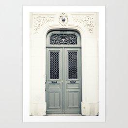 Gray Paris Door Art Print