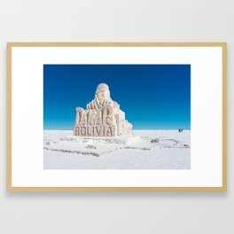 Dakar, Bolivia Monument in Salar de Uyuni, Salt Flats Framed Art Print
