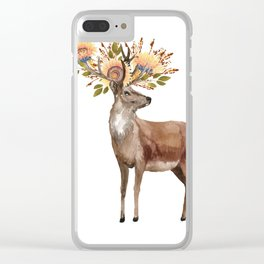 Boho Chic Deer With Flower Crown Clear iPhone Case
