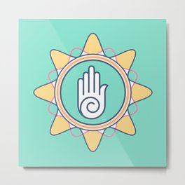 ahimsa symbol hand hinduism prayer Metal Print