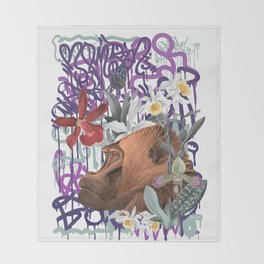 Graffiti Gorilla Philosopher Monkey Black Jungle Throw Blanket