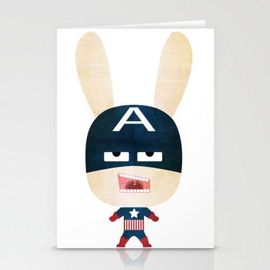 We are all rabbits \ Captain America  Stationery Cards