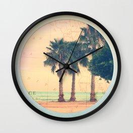 Peach and Grapefruit Sunset on Boardwalk Wall Clock