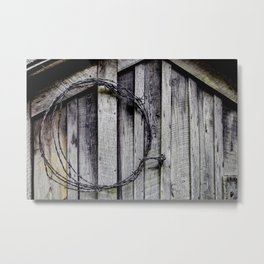 wood and barbed wire Metal Print