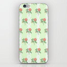 Stem Rose Watercolor Pattern Mint iPhone Skin