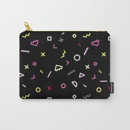 Memphis Style 80s Nostalgia design - Black Background Carry-All Pouch