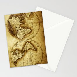 Antique Map of the World Stationery Cards