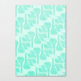 Garlics Pattern in Pastel Green Canvas Print