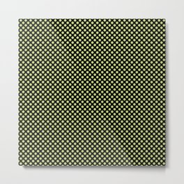 Black and Daiquiri Green Polka Dots Metal Print