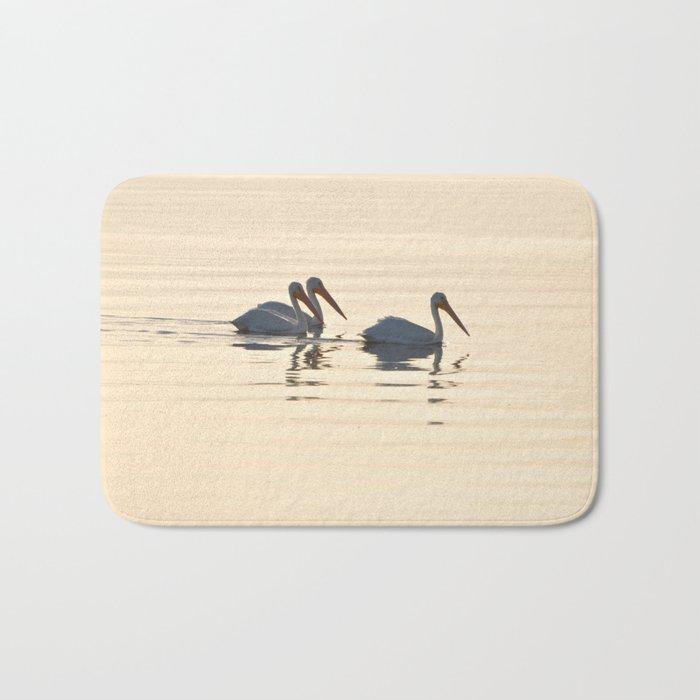 WHITE PELICANS ON THE SALTON SEA Bath Mat