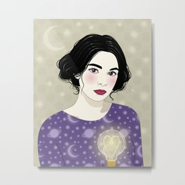 Moon Girl in love Metal Print